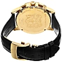 Mens Limited Edition Swiss Made Multi-Function Moonphase Watch With Italian Leather Strap Black & Gold image