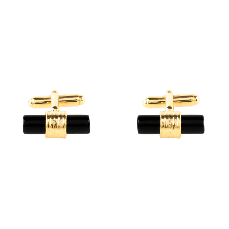 Latelita London Cylindrical Cufflink Gold Black Onyx Gzhjk7RbL4