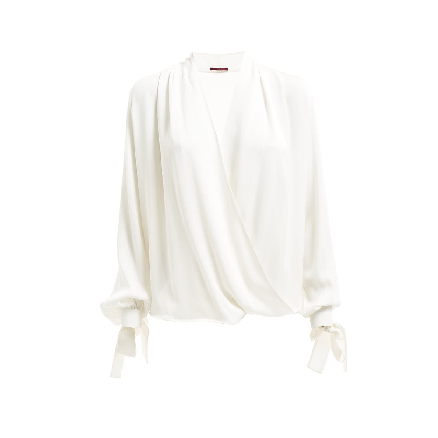 130ca8bcfe650 Empire Silk Wrap Blouse Raw White image