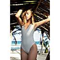 V-Neck One-Piece Swimsuit - Aura - Stone Grey image