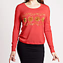 Sequin & Bead Embellished Krystle Cashmere Sweater In Red image