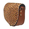 Cheetah Print Leather Saddle Bag In Tan With Back Pocket image
