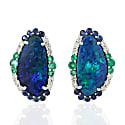 18Kt White Gold Natural Emerald Opal Doublet Blue Sapphire Genuine Diamond Stud Earrings image