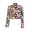 Multicolor Cropped Jacket With Pockets image