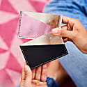 Diagonal Gold and Pink Leather Card Holder image