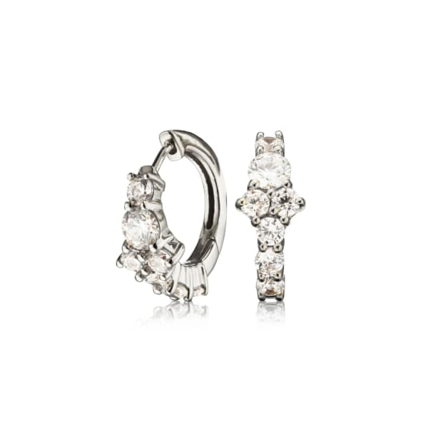 LILY & ROO Small Silver Cluster Diamond Style Huggie Hoop Earrings