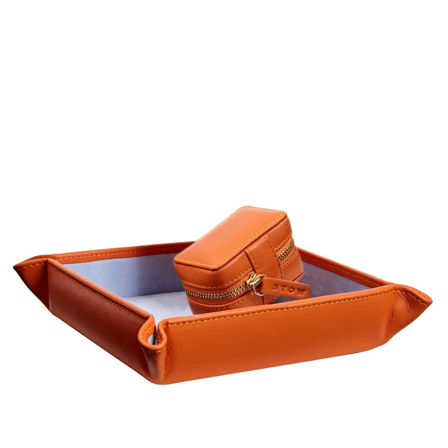 a58e2d950 Soft Leather Sanderson Coin Tray & Cufflink Box Gift Set Amber Orange