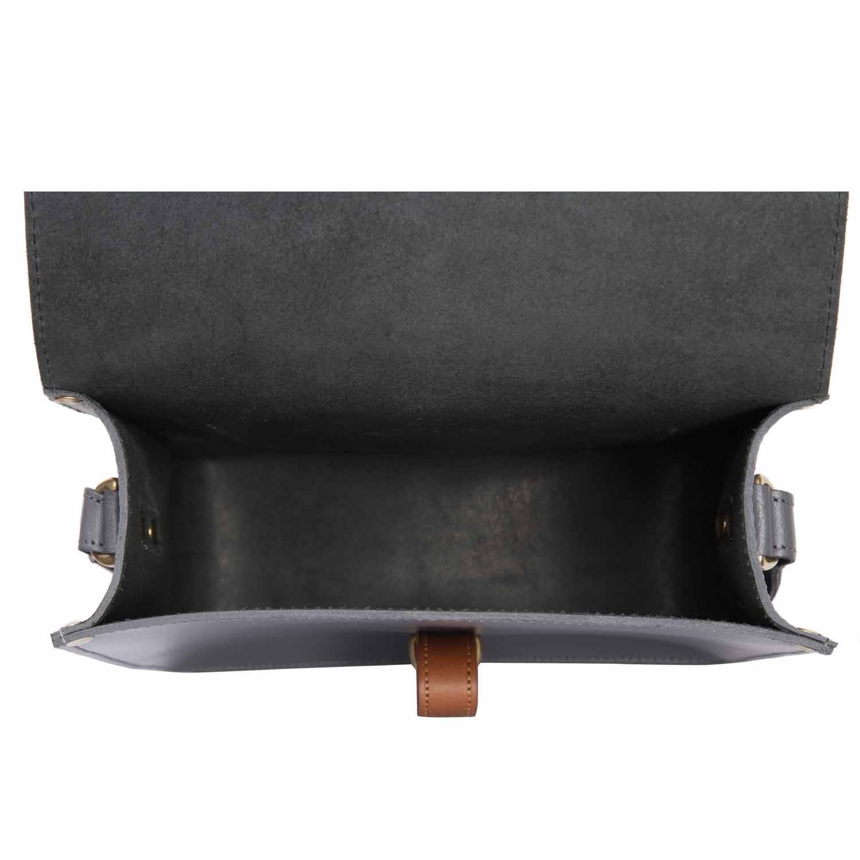 304871911e69 Mini Elizabeth Grey Leather Crossbody Satchel Bag image