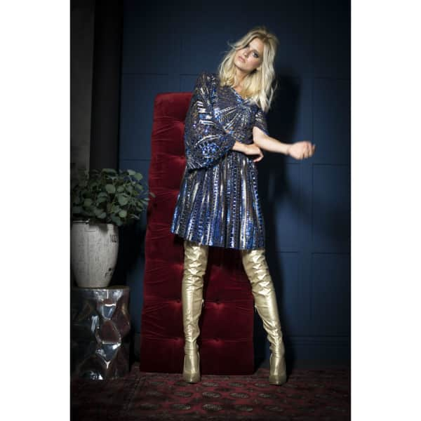 578dd2ce7be Jiri Kalfar Blue   Gold Sequin Dress