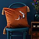 Trapeze Girl Velvet Cushion Burnt Orange image