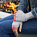 Cashmere Wrist Warmers Grey With Neon Pink & Orange image