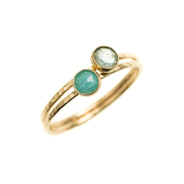 FEATHER+STONE Gold Amazonite And Aquamarine Rings