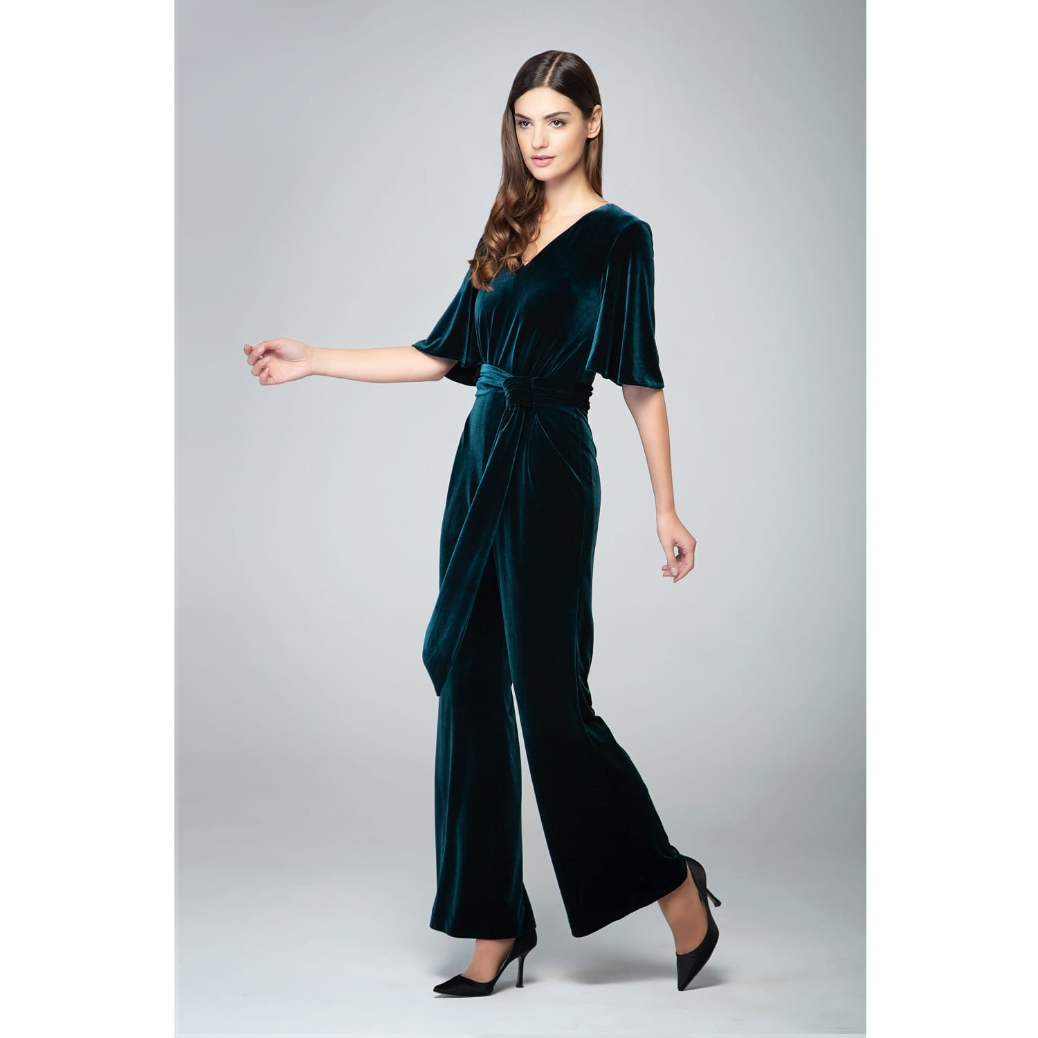 Layla Velvet Jumpsuit With Bell Sleeves Sash In Emerald Green By Rumour London