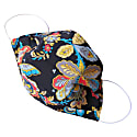 Pack Of 2 Silk Face Masks With Integrated Filter In Liberty Fabric in Black Print image