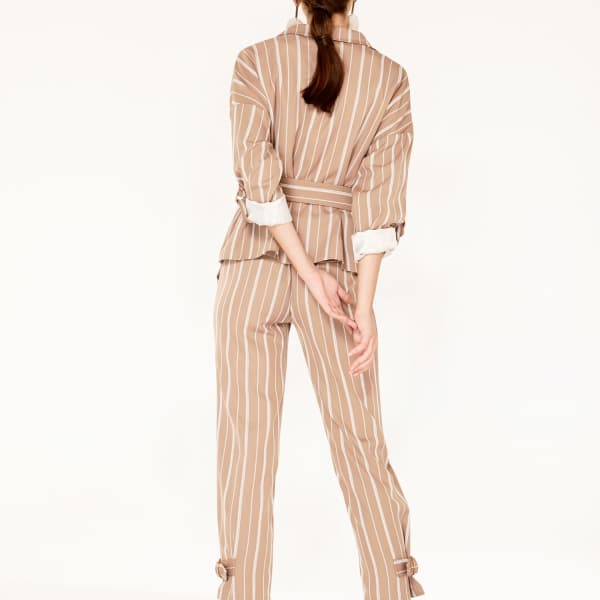 Paisie Striped Double Breasted Blazer With Adjustable Sleeves (With Self Belt) In Dusty Pink And White In Brown,Pink