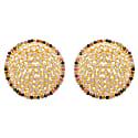 Statement Sliced Crystal Studs With Gemstone Border image