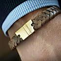 Tobacco Brown Gold Leather Bracelet Serac Bracelet image