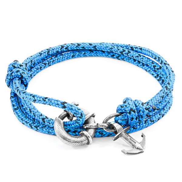 Anchor & Crew Blue Noir Clyde Anchor Silver & Rope Bracelet