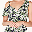 Floral Asymmetric Shoulder Jumpsuit With Gathered Details In Green Navy Floral image