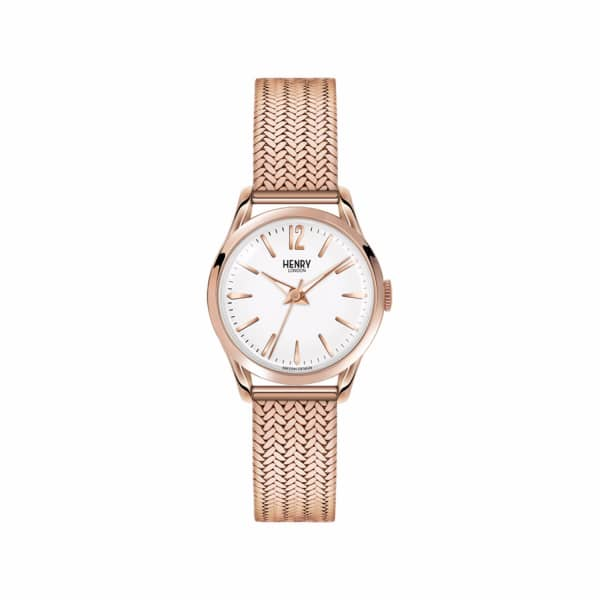 HENRY LONDON Richmond Ladies 25Mm Rose Gold Stainless Steel Mesh Bracelet Watch With Rose Gold Stainless Steel Ca in White