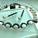 Natural Edison Pearls & Black Rhinestones Bordered Pearls Necklace image