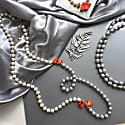 Grey & White Freshwater Pearls With Floral Corals Multi-Way Necklace image
