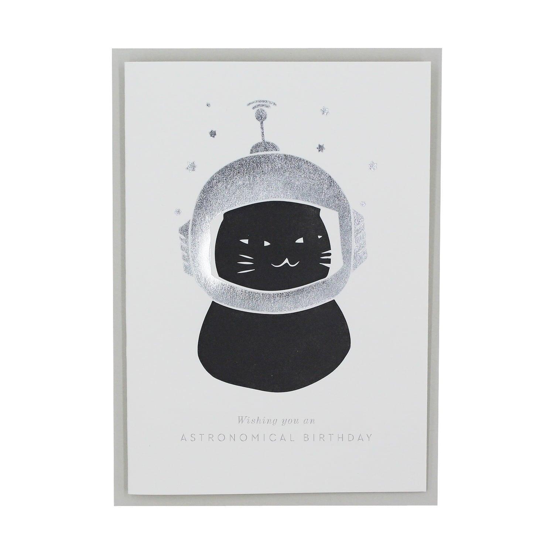 Letterpress Astro Cat Birthday Greetings Card Artcadia Wolf Badger