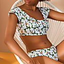 Saint Peter Crop Bikini Top In Bee Floral Green & White Print With Adjustable Tie Back image