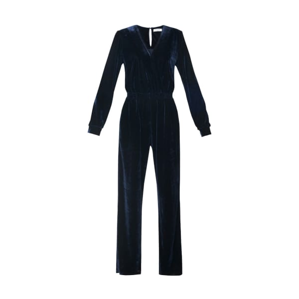 PAISIE Velvet Jumpsuit With Wrap Front & Elastic Waistband In Navy
