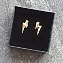 3D Flat Top Lightning Bolt Earrings Gold   18Ct Gold Vermeil Flash image