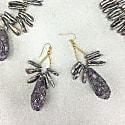 Deep Purple Pearl & Rhinestones Bordered Amethyst Earrings image
