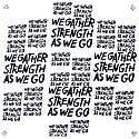 Black & White Calligraphy Print Scarf We Gather Strength As We Go image