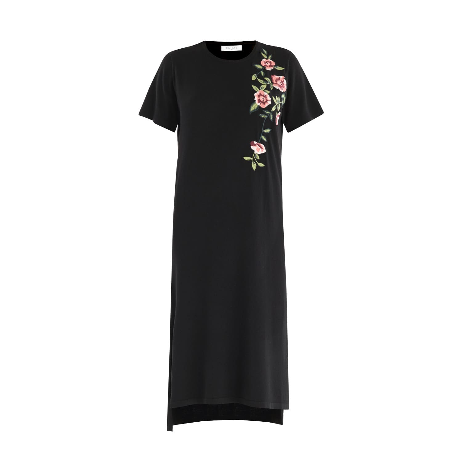 ed2f5500def Jumper Dress with Floral Embroidery in Black image