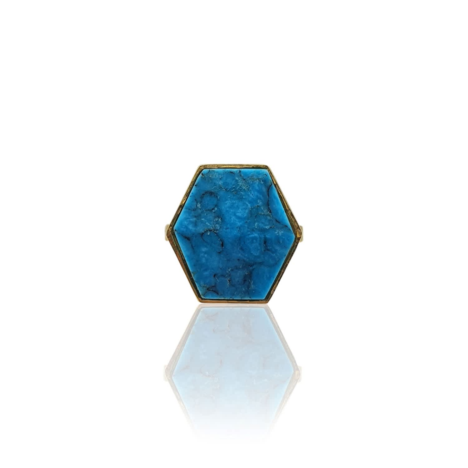 Hexagon Turquoise Ring In 18K Gold Vermeil by Eliza Bautista