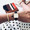Neliö Square Vegan Leather Watch Gold White & Black image