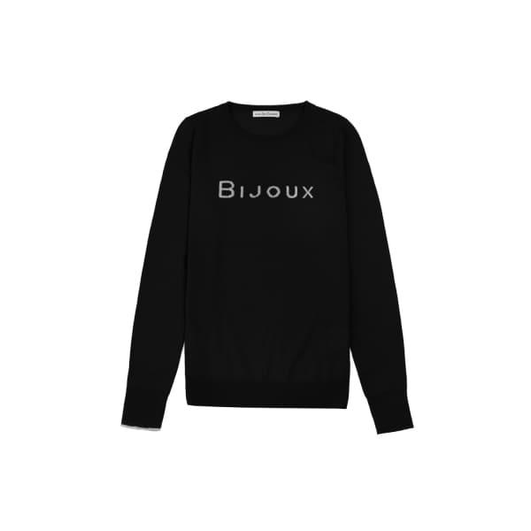 ILLE DE COCOS Bijoux Merino Sweater Black Marl & Pebble Grey