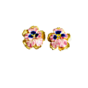 Hand Painted Pink Pansy Stud image