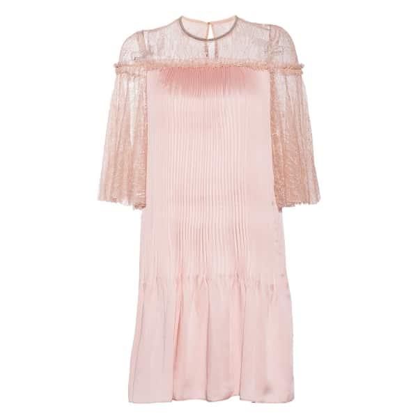 NISSA Elegant Dress With Shiny Effect & Lace Details