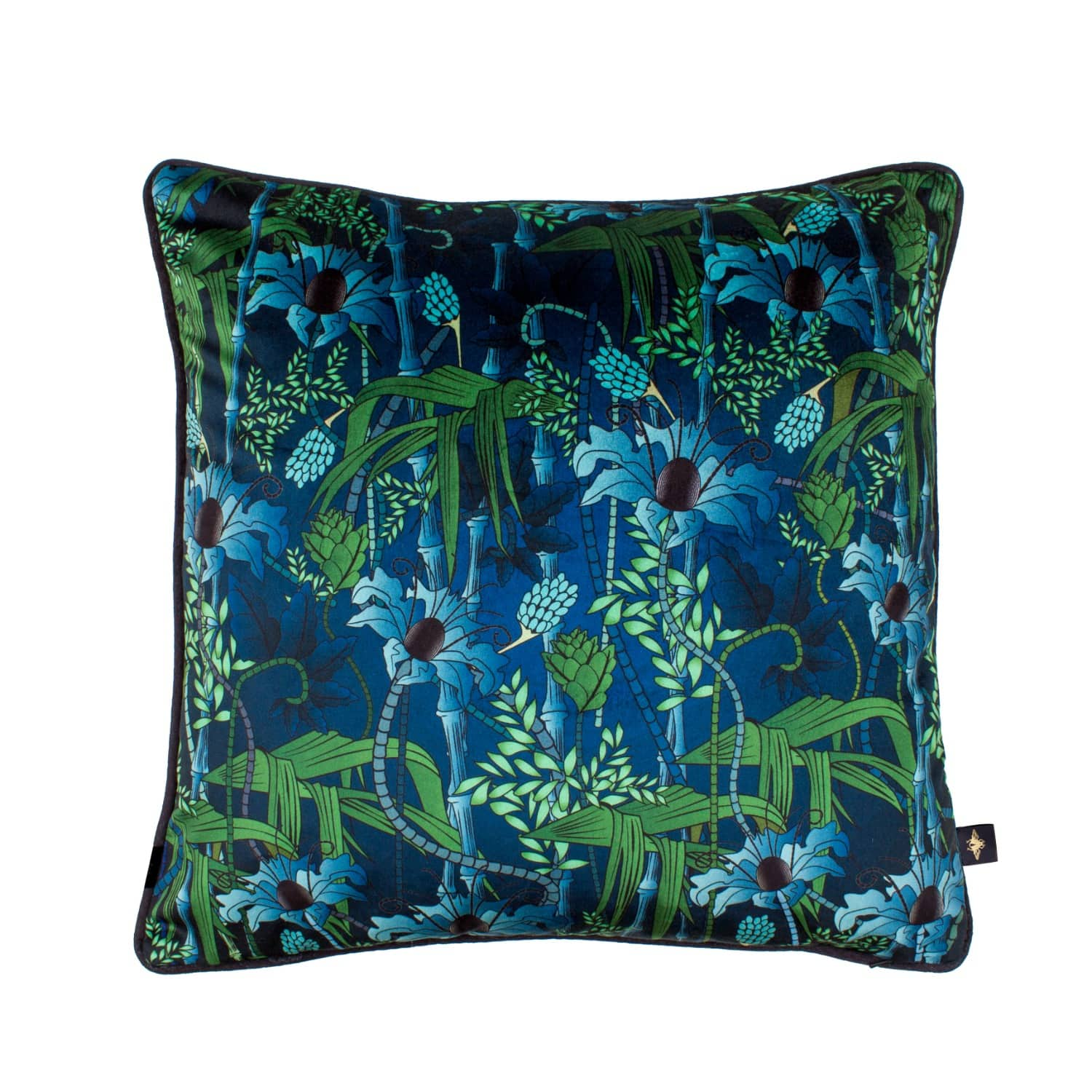 Electric Lagoon Blue Velvet Cushion The Curious Department Wolf Badger