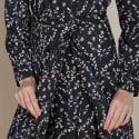 Fleur Shirt Dress In Black Spring Bloom image