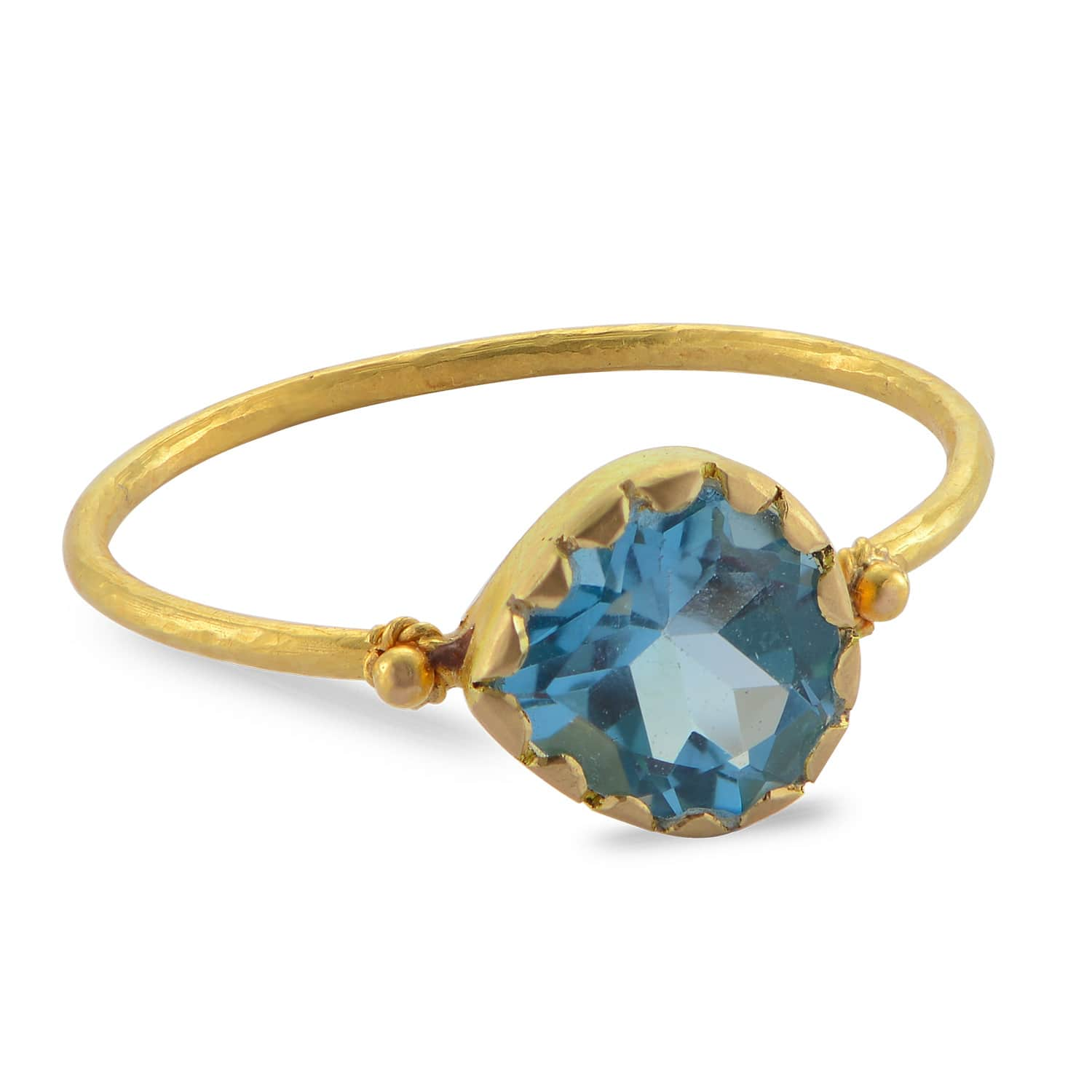 bf337ed835c88 Grecian Gold Aquamarine Stacking Ring by Emma Chapman Jewels