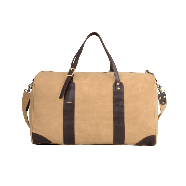 fd6c6055b9 Waxed Canvas Leather Weekend Bag Tan image