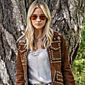 Suede Leather Studded Fitted Biker Jacket Honey image