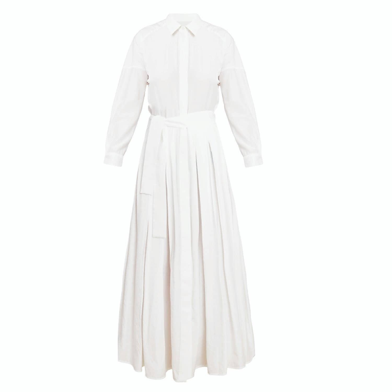Dysania White Long Sleeve Midi Shirt Dress Undress Wolf Badger