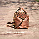 Large Genuine Leather Holdall In Brown image