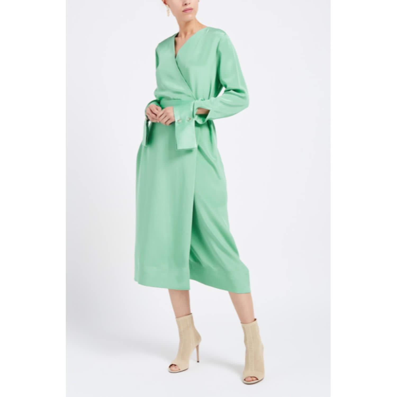 110554d1c0e Peregrine Mint Green Silk Wrap Midi Dress image