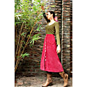 Peach Red Corduroy Midi Skirt image