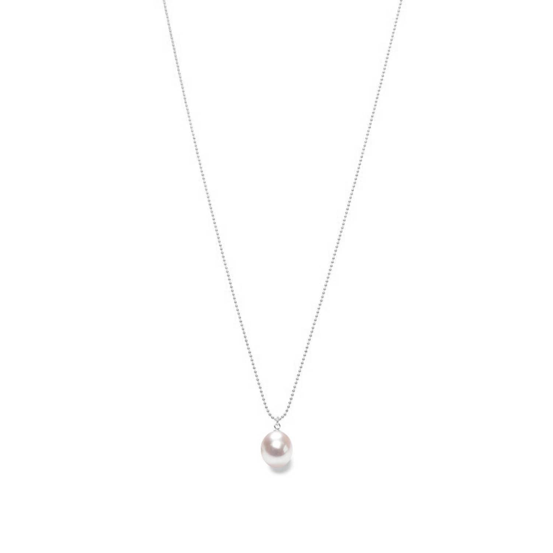 White Pearl Drop Pendant Silver Chain by ORA Pearls