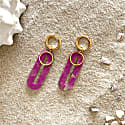 Elliptical Huggie Earrings in Radiant Orchid & Gold image