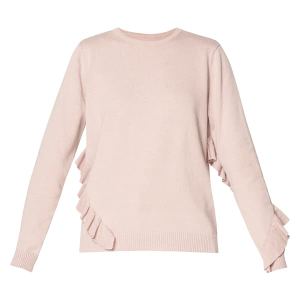 PAISIE Knitted Top With Asymmetric Frill Details In Blush